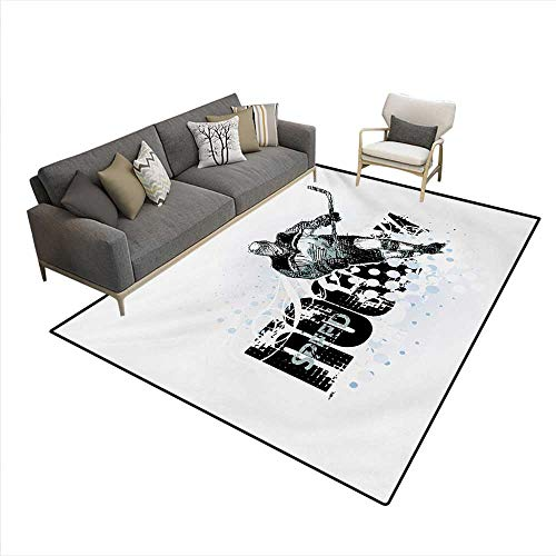 Floor Mat,Grunge Sketch Art a Professional Player Silhouette Text Dots,3D Printing Area Rug,Black White Pale Blue,6'x9'