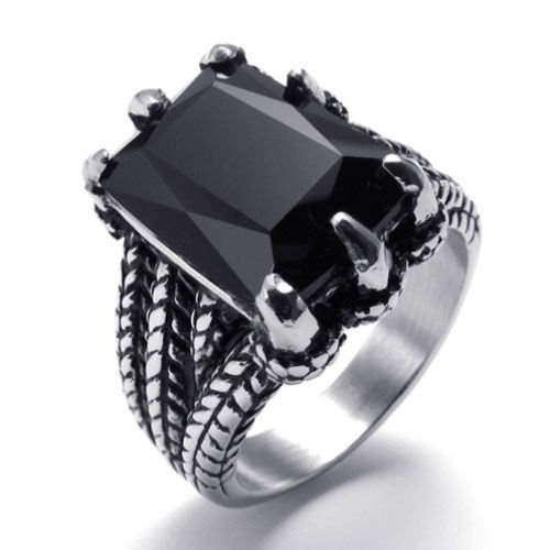[Aooaz Men's Ring Stainless Steel Ring Silver Black Princess CUT Black Onyx Monster Talon Vintage Punk] (Roman Goddess Costume Pattern)