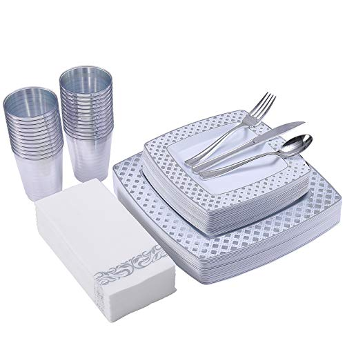 175 Piece Silver Dinnerware Set 25 Guest-50 Diamond Square Plastic Plates-25 Silver Plastic Silverware-25 Silver Plastic…