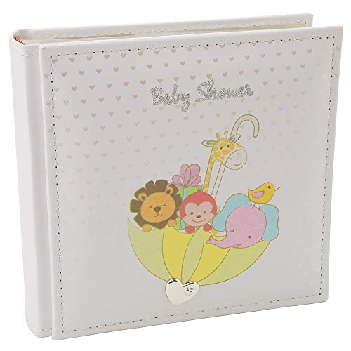 Happy Homewares White Noah\'s Ark Baby Shower Photo Album with Colorful Animals and Silver Hearts Holds 80 4x6 Pictures - Lovely Idea