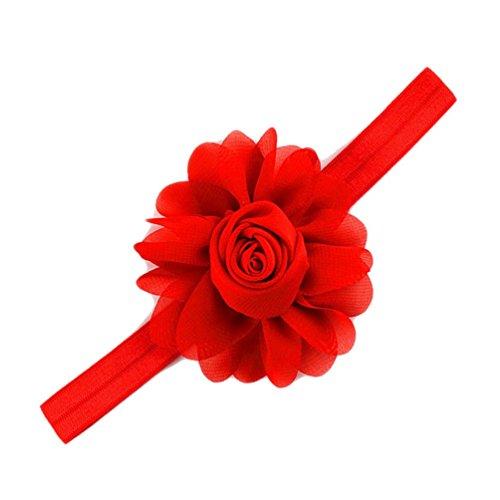 [Chiffon Rose Frill Flower Baby Girls Headband Hair Accessories JA10 (Red)] (Red Girls Hair Band)