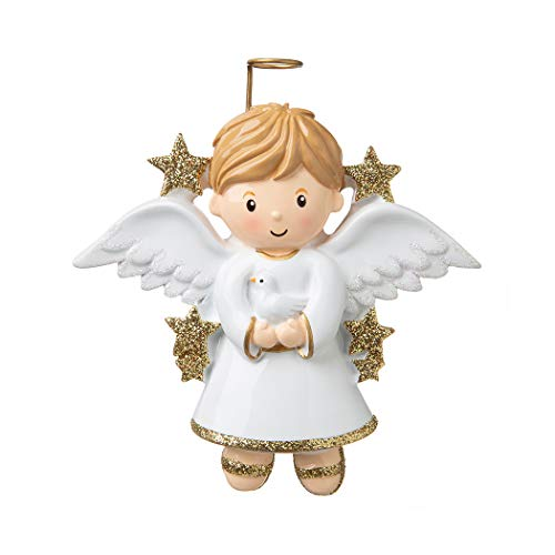 (Personalized Angel Boy with Dove Christmas Tree Ornament 2019 - Cute Handsome Pixie Gold White Wings Halo Prayer Heaven Memorial Remembrance Choir Spirit Figure Tradition - Free Customization)