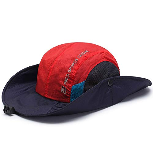 SENREAL Mens Foldable Breathable Bucket Hat with String Outdoor Fishing Hat Climbing Sunshade Cap Red