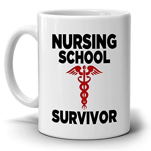 Funny Student Nurse Graduation Gifts Coffee Mug Graduates Nursing School Survivor, Printed on Both Sides!