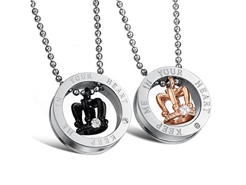 HQLA His or Hers Matching Set 2PC Titanium Stainless Steel Black/Rose Gold Plated Crown w/Cz Crystal in Silver Circle Couple Pendant Necklace Set for Lover Valentine By, (Keep Me in Your Heart) by HQLA