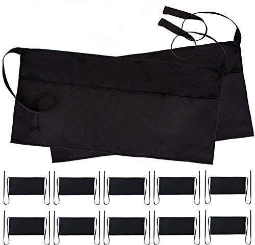 (Black Server Waitress Waist Aprons - Set of 12 Professional Kitchen Restaurant Bistro Half Aprons in Bulk for Men Women with 3 Pockets - 12 Pack)
