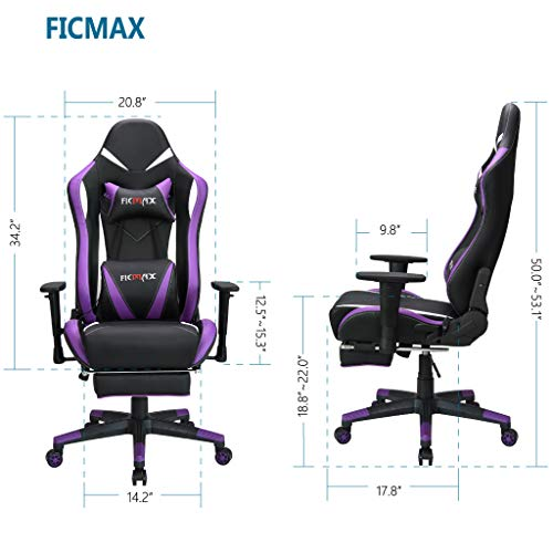 Ficmax Ergonomic Gaming Chair With Massage Lumbar Support