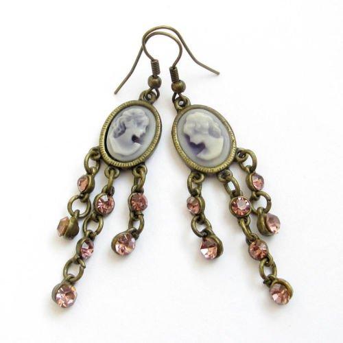 Gozebra(TM) Pair Of Acrylic Diamond Copper Coated Cameo Lady Beauty Earrings