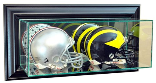 Perfect Cases NFL Wall Mounted Double Mini Helmet Glass Display Case, (Helmet Mounted Display)