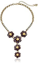 "Betsey Johnson Spring Ahead Faceted Stone Flower Y-Shaped Necklace,16"" + 3"" Extender"