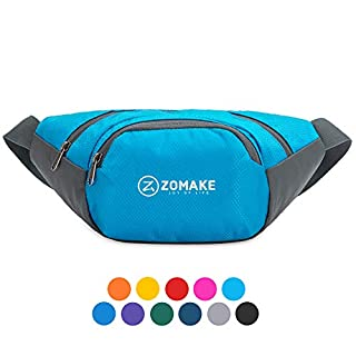 Best Fanny Pack 2019 - ZOMAKE Fanny Pack Water Resistant Waist Bag Hip Bum Bag for Men and Women, Large Compartment with Adjustable Strap for Outdoors Workout Traveling Casual Running Hiking Cycling(Light Blue)