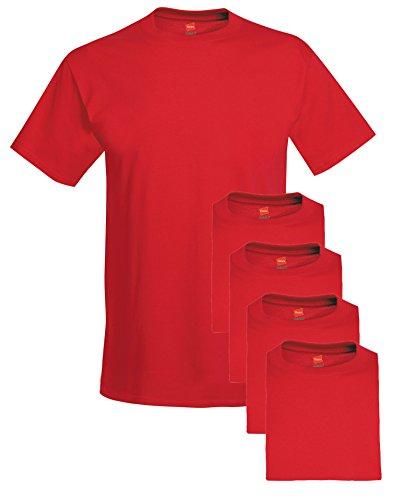 - Hanes mens 5.2 oz. ComfortSoft Cotton T-Shirt(5280)-DEEP RED-L-5PK