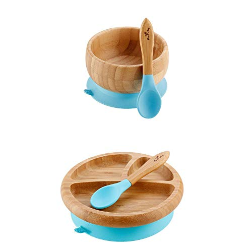 """Avanchy - Baby Feeding Plate + Bowl and 2 Spoons Set, Divided Bamboo Plate with Spill Proof, Stay Put Suction Ring, 7"""" × 2"""" Plate Size - Blue"""
