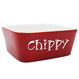"Custom Personalized Pet Bowl Gift - Engraved Dog and Cat Bowls - Monogrammed Ceramic Dish (Large - 7"" x 7"" x 3"", Red)"