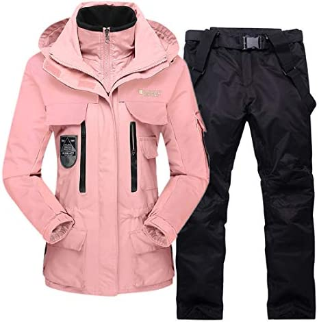Womens Mens Ski Jacket and Pants Set Insulated Waterproof 2 Pieces Snowboarding Suits