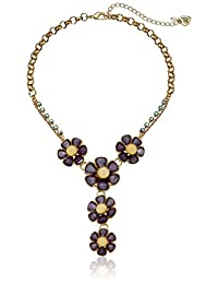 """Betsey Johnson """"Spring Ahead"""" Faceted Stone Flower Y-Shaped Necklace,16"""" + 3"""" Extender"""
