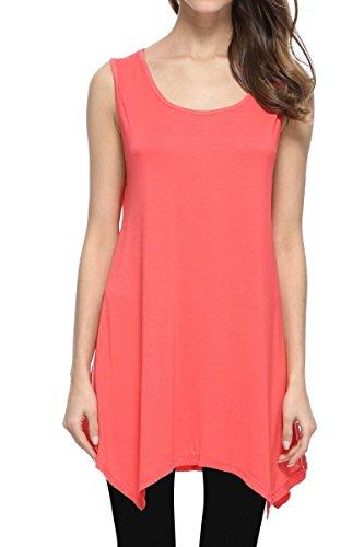 JollieLovin Womens Plus Size Loose-Fit Sleeveless T-Shirt Tank Tunic Top (Watermelon Red, 3X) (Size Tank Plus Top Sleeveless)