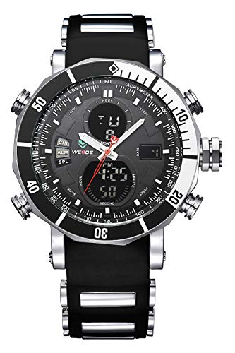WEIDE Men's Analog Digital Watch Quartz LCD Stopwatch Water Resistant Silicone Movement Sports Watches Black Band (Black&Black)