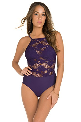 Amoressa by Miraclesuit Women's Tres Riche One Piece High Neck Swimsuit Plum 12 by Miraclesuit