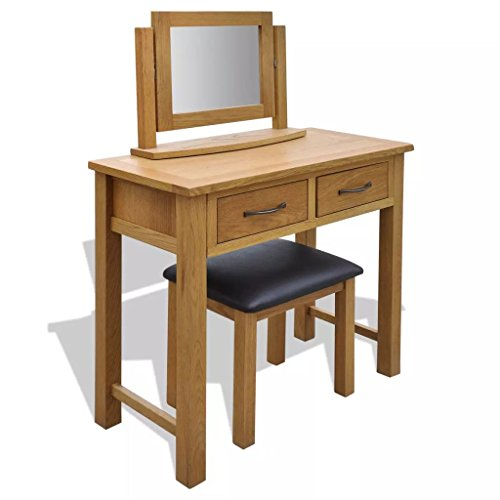 Oak Table Dressing Set - Festnight Vintage Vanity Makeup Table Set Dressing Table with Stool, Mirror Oak