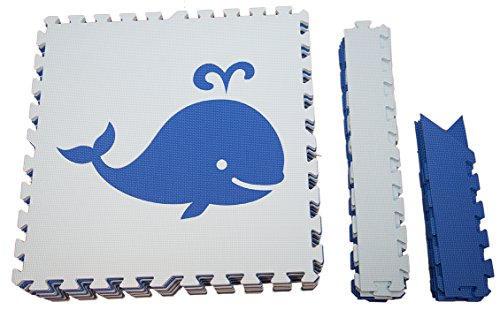SoftTiles Interlocking Foam Playmats- Nautical Ocean Theme for Baby Nursery and Children's Playroom- Nontoxic Large 2' Foam Floor Tiles 6.5' x 6.5' (Blue, Light Blue) SCNAUBS9 by SoftTiles (Image #1)