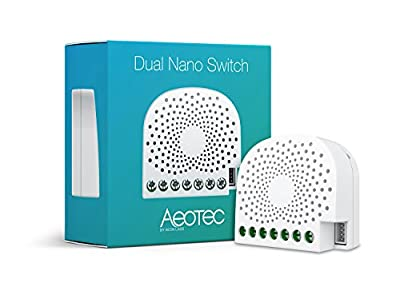 Aeotec Dual Nano Switch on / off controller, 2 switches, Z-Wave Plus, In-wall, Compatible with Alexa
