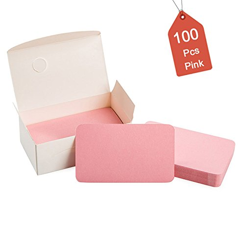 100Pcs Blank Pink Cards Kraft Note Paper Business Cards Vocabulary Word Card Message Card DIY Gift Card Blank Paper - Card Business Pink