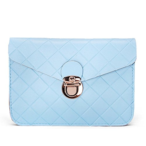(Fashion Diamond Plaid Two Layers Separated PU Leather Mini Crossbody Shoulder Pouch Purse Travel Cellphone Bag for Apple iPhone 6/6S,6/6S Plus,5S/5C,Samsung Galaxy S6,S6 Edge+,S6 Edge/Note5/4 (Blue))