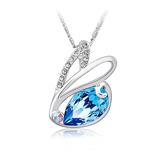 [Yuriao Woman's Unique Fashion Cute Little Rabbit Crystal Diamond Pendant Necklace£¨blue£] (Easy Homemade Mermaid Costumes)