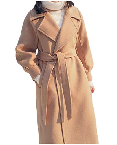 Down Collar Outwear Turn Thicken Belted Skinny Design Camel Women Howme Parka ES7xqz