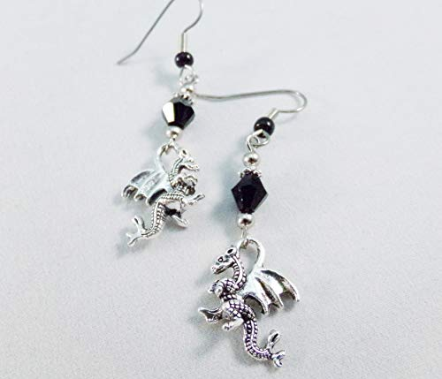 Dragon Charm and Crystal Earrings Black