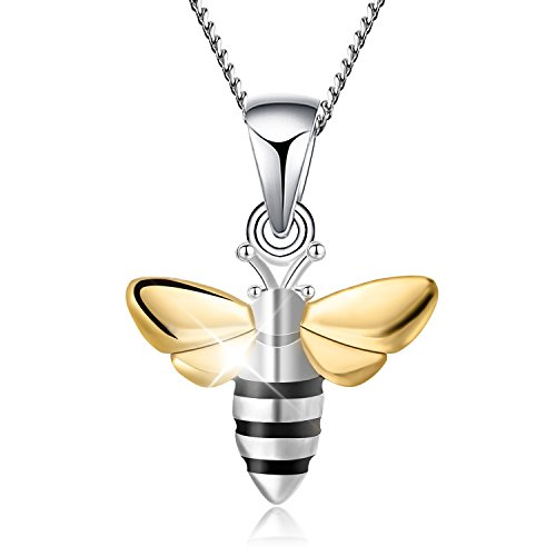 Lotus Fun S925 Sterling Silver Necklace Pendant Lovely Honeybee Pendant with Necklaces Link Chain Length 17inches, Handmade Unique Jewelry Gift for Women and Girls ()