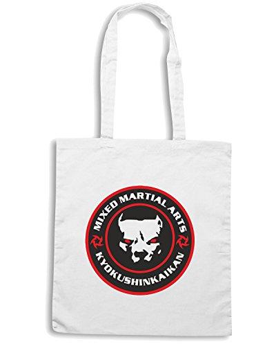 T-Shirtshock - Borsa Shopping TAM0200 Pitbull mma mixed martial arts hooded tshirt Bianco