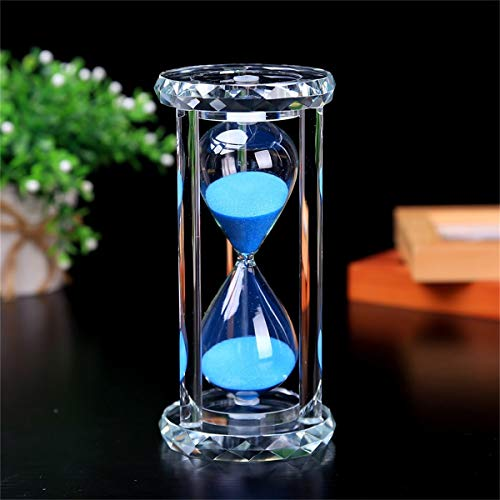 SZAT PRO Hourglass Sand Timer Clock 30 Min/Mins Hour Glass for Office Desk, Coffee Table, Book Shelf, Christmas, Birthday Present with Gift Box Package(Blue,Crystal,30 Minutes)
