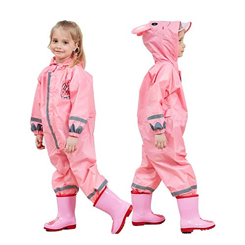 (SSAWcasa One Piece Rain Suit Kids,Unisex Toddler Waterproof Rainsuit Rain Coat Coverall (S, Pink Rabbit))