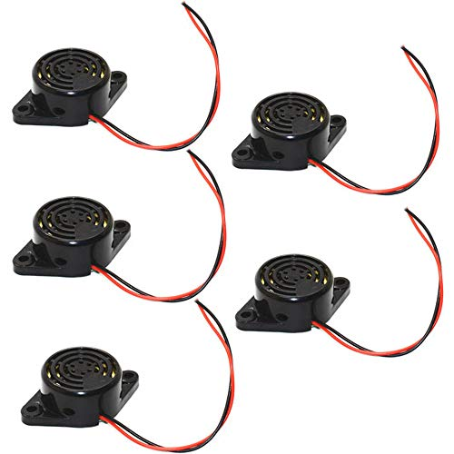 DIKAVS 3-24V Small Enclosed Piezo Electronic Buzzer Alarm 95DB w/Wires (Pack of 5)