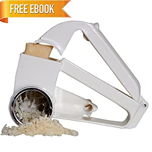 S'ELITE Cheese Grater with Bonus EBOOK Cheese Making at Home - Handheld Rotary Grater with Razor Sharp Blades and Stainless Steel Drum for Grating Cheese, Parmesan, Chocolate, Carrots and Nuts