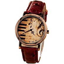 megko Vintage Piano Music Note Analog Bronze Watch with Red Leather Strap