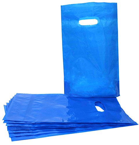 Colored Party Favor Plastic Bags Great For Theme Events, Party And Holiday Celebrations Comes In A Variety Of Colors (100 Pcs) (Blue) by SN