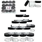 (Quantity: 30 Pieces) Beauticom® High Quality 30G/30ML (1 Oz) Round Clear Jars with BLACK Flat Top Lids for Beads, Gems, Glitter, Charms, Small Arts and Crafts - BPA Free