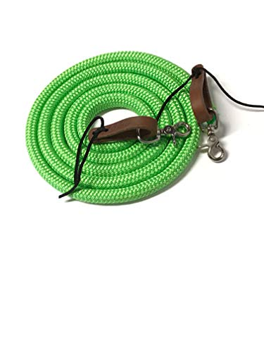 - yacht rope rein with water loops and trigger snaps lime green