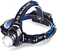 LED Zoomable Rechargeable Headlamp Flashlight Headlight, 3 Light Modes with 4200 mAh Rechargeable Batteries, f