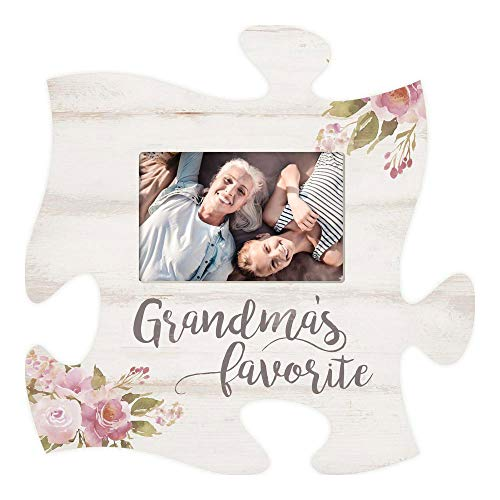 (P. Graham Dunn Grandma's Favorite Floral Pink 12 x 12 Wood Puzzle Piece Wall Photo Frame)