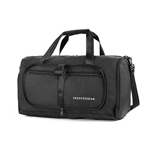 CrossGear Foldable Duffle Bag Water & Tear Resistant with Shoes Compartment CR-0907BK