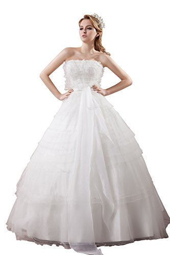 VogueZone009 Womens Strapless Satin Pongee Wedding Dress with Fold, ColorCards, 16 by VogueZone009