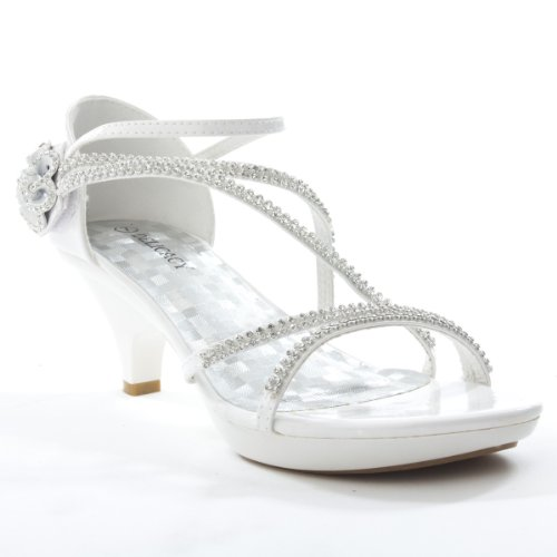 Delicacy Womens ANGEL48 Open Toe Rhinestones Med Low Heel Party Sandal, WHITE PU Leather, 8.5 B (M) US