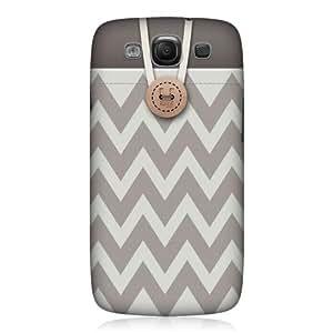 TopFshion Designs Chevron Grey Button Purse Back Case for Samsung Galaxy S3 III I9300