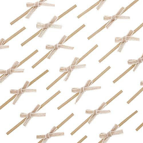 Bright Creations Mini Jute Burlap Twist Tie Craft Bows (60 Count)