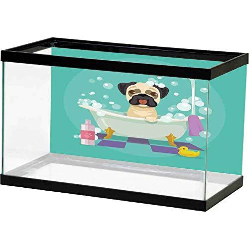 bybyhome Undersea World Nursery,Pug Dog in Bathtub Grooming Salon Service Shampoo Rubber Duck Pets in Cartoon Style Image,Teal Underwater Backdrop Image Decor