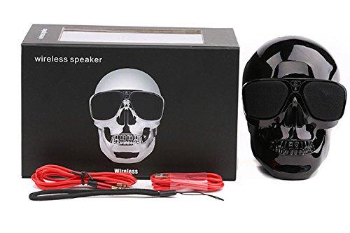 ArMordy(TM Plastic Metallic Skull Shape Wireless Bluetooth Speaker Sunglass NFC Skull Speaker Mobile Subwoofer Multipurpose Speaker Cool[ Black ]